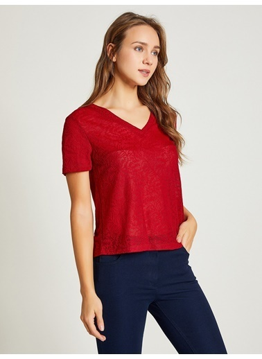 Vekem-Limited Edition Jakarlı Pamuklu T-Shirt Bordo